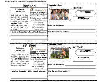 3rd Grade MacGraw Hill Wonders Unit 1 Week 1-Context Clues/Vocabulary Maps