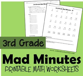 3rd Grade Mad Minutes (Math Worksheets)