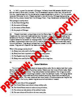 3rd Grade Main Idea Assessment