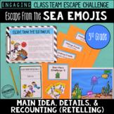 3rd Grade Main Idea Details Escape Challenge: Escape from the Sea Emojis!