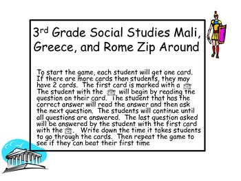 3rd Grade Mali, Greece, Rome I Have..Who Has?  Review Game.
