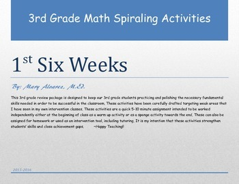3rd Grade Math 1st Six Weeks Spiraling Activities