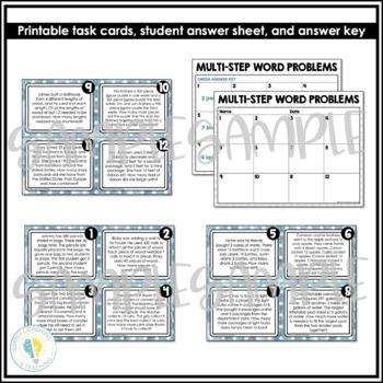 3rd Grade Math 2 Step-Word Problem Task Cards