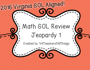 3rd Grade Math 2016 SOL Review Jeopardy 1