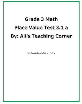 3rd Grade Math 3.1a Place Value Test