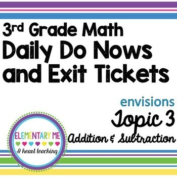 3rd Grade Math Exit Tickets and Do Nows Bundle Topics 1-4