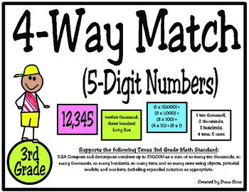 3rd Grade Math: 4-Way (5-Digit) Place Value Match TEKS 3.2A