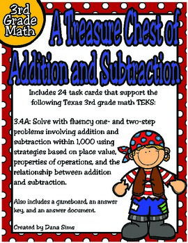 3rd Grade Math:  A Treasure Chest of Addition and Subtraction TEKS 3.4A