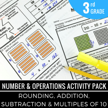 Rounding Numbers | Addition | Subtraction - 3rd Grade Math Activity Pack