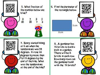3rd Grade Math Activity Task Cards with QR code answers
