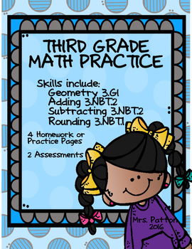 3rd Grade Math Addition, Subtraction, Rounding, Geometry