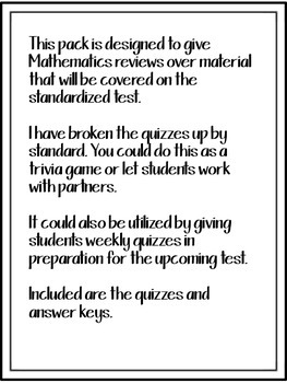 3rd Grade Math Common Core Standards GA Milestones Review Year Round Quizzes