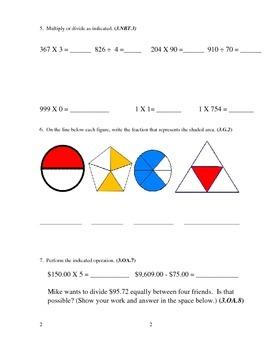 3rd Grade Math Assessment [(CUMULATIVE) answer key included]