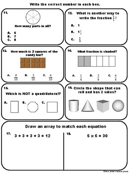 3rd Grade Math Assessment Common Core State Standards