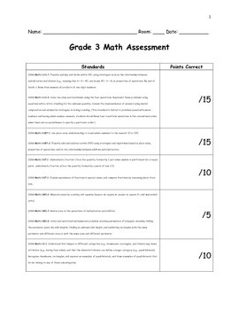 3rd Grade Math Assessment for Common Core standards