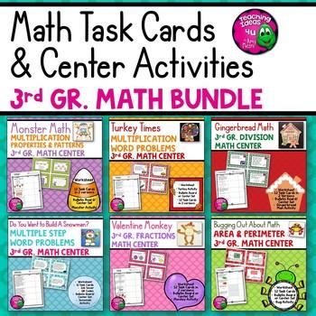 3rd Grade Math BUNDLE: 6 Sets of Worksheets, Task Cards, & Center Activities