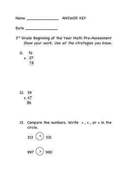 3rd Grade Math Beginning of the Year Pre- Assessment Pre-Test