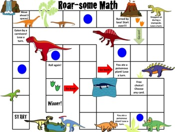 3rd Grade Math Board Game- Roar-some Math