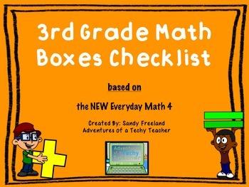 3rd Grade Math Boxes Checklist New Everyday Math 4