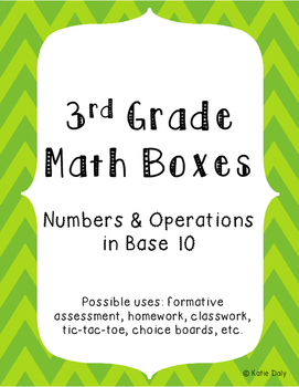 3rd Grade Math Boxes - Numbers and Operations in Base Ten