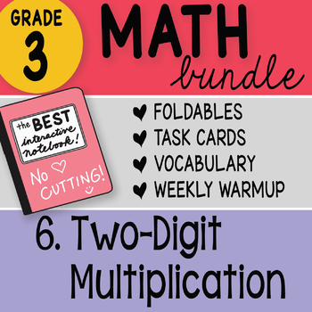 Doodle Notes - 3rd Grade Math Doodles Bundle 6. Two Digit Multiplication