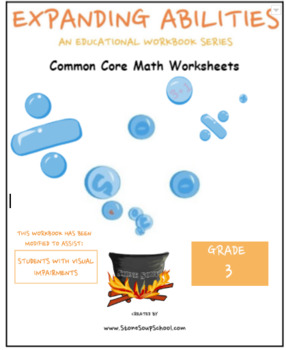 Grade 3 Math Bundle-Fractions,Geom.,Algebra,M&D,Base 10- Visually Impaired