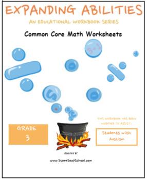 Grade 3 Math Bundle -Fractions, Geometry, Algebra, M&D, Base 10- Autism Spectrum
