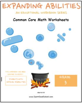 Grade 3 Math Bundle-Fractions,Geometry,Algebra,M&D,Base 10 w/Physical Disability