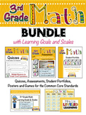 3rd Grade Math Bundle with Learning Goals and Marzano Scales - EDITABLE