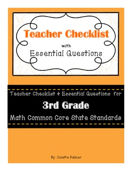 3rd Grade Math CCSS- Teacher Checklist and Essential Questions