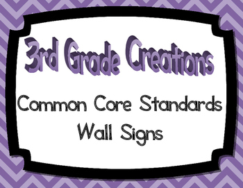 3rd Grade Math CCSS Wall Signs