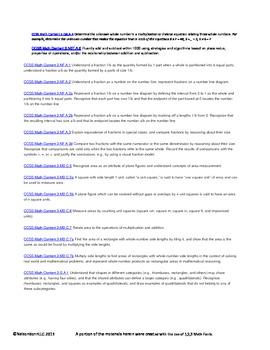3rd Grade Math Calendar - Area, Algebra, Fractions and Quadrilaterals