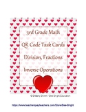 Valentine's Math Center QR Task Card Division Fractions In