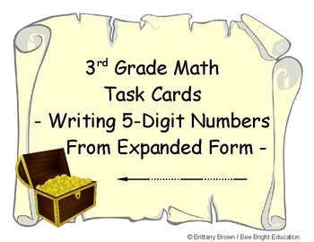 3rd Grade Math Center Task Cards Write 5-digit numbers from Expanded Form Pirate