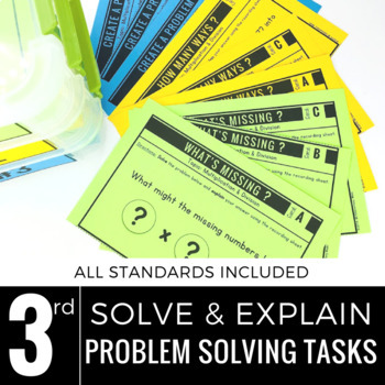 3rd Grade Math Centers   Problem Solving   Solve and Explain
