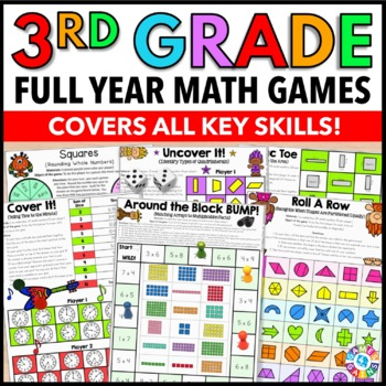3rd Grade Math Games Bundle {Place Value, Fractions, Measurement, & More!}