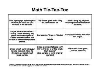 3rd Grade Math Choice Board