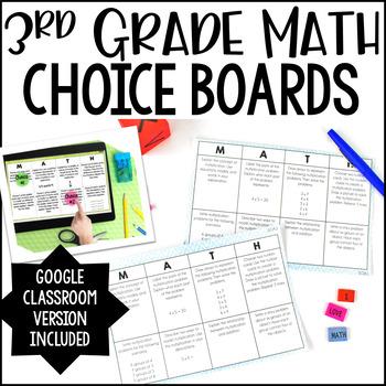 3rd Grade Math Choice Boards {All Standards}