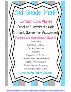 Common Core Aligned Math Practice Sheets for 3rd Grade wit