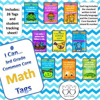 3rd Grade Math Common Core Brag Tags