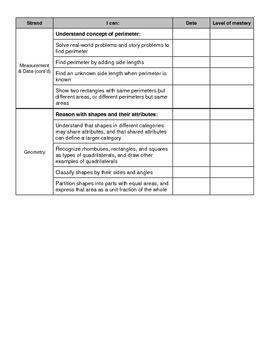 3rd Grade Math Common Core Checklist