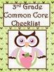 3rd Grade Math Common Core Checklist - Lesson Planning Form - Owl - Green