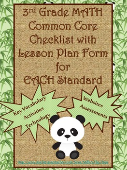 3rd Grade Math Common Core Checklist - Lesson Planning For