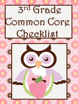 3rd Grade Math Common Core Checklist - Lesson Planning Form - Owl - Pink