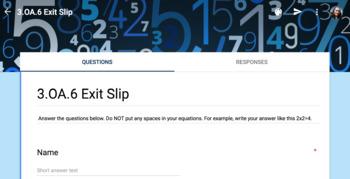 3rd Grade Math Common Core Digital Exit Slip Quizzes