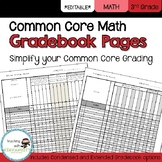 3rd Grade Math Common Core Gradebook Pages **EDITABLE**