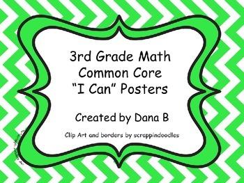 """3rd Grade Math Common Core """"I Can"""" Posters -Chevron"""