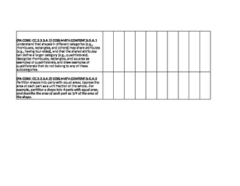 3rd Grade Math Common Core/PA Core Spreadsheet