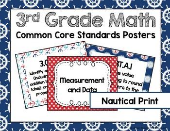 3rd Grade Math Common Core Posters- Nautical Print!