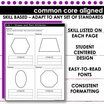 3rd Grade Math - Common Core Print & Go - Geometry